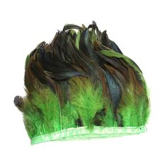 AWAYTR? Rooster Hackle Feather Fringe Trim 5-6' in Width Pack of 5 Yards (Green) ** Find out more about the great product at the image link.