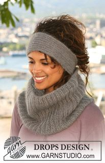"DROPS 125-8 - Set comprises: DROPS neck warmer and head band in English Rib in 2 strands "" Kid-Silk"". - Free pattern by DROPS Design"