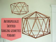 Turn bendy straws from the dollar store into a trendy Anthropologie-inspired hanging geometric pendant!