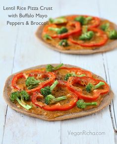 Gluten-free Lentil Rice Crust Pizza with Buffalo Mayo sauce, Red Bell Peppers and Broccoli. Vegan Gum-free