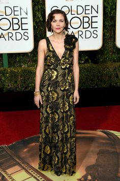 Maggie Gyllenhaal embraces print in a gown by Marc Jacobs.