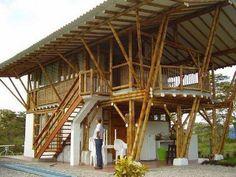 Easy Contemporary Home Decor Ideas Bamboo House Design, Tropical House Design, Tropical Houses, Hut House, Tiny House Cabin, Bamboo Architecture, Tropical Architecture, Bamboo Roof, Bamboo Building