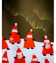 Tontut ja revontulet/ Leena Ahtela Christmas Art Projects, Winter Art Projects, Christmas Crafts For Kids, Christmas Activities, Projects For Kids, Christmas Cards, Christmas Decorations, Xmas, Christmas Ornaments