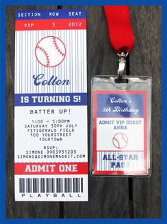 TICKET PLEASE! Make it official! Invite your friends, family & co-workers to a great baseball themed party!