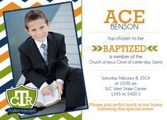 LDS Baptism Invitation - CTR - Custom Boy LDS Baptism Photo Announcement/Invitation