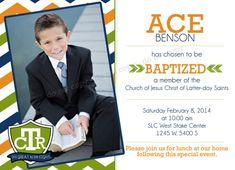 LDS Baptism Invitation - CTR - Custom Boy LDS Baptism Photo Announcement/Invitation
