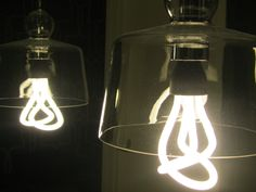 The new pendant and Plumen bulb in our office washroom.