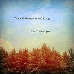 The wilderness is calling, and I must go.
