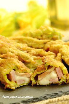 FIORI DI ZUCCA RIPIENI COTTO E FUNGHI...la ricetta qui: http://blog.giallozafferano.it/piattiprontiinunattimo/fiori-di-zucca-ripieni-cotto-e-funghi/
