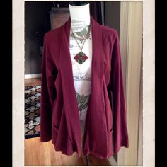 """PRICE DROP⬇️ LUCKY BRAND- Cover Up/ Cardigan Never worn. Beautiful rich burgundy color. Front pockets on each side. Has a """"flowing"""" type look. Underarm to underarm 44"""", Shoulder to shoulder 16.6"""", Length to hemline 30"""", and Sleeve length 27"""". Lucky Brand Jackets & Coats"""