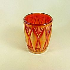 Carnival Glass Cylindrical Vase.