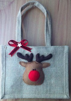 Christmas Jute Bag by AliCraftByHand on Etsy come @Sneak Attacks this new shop!