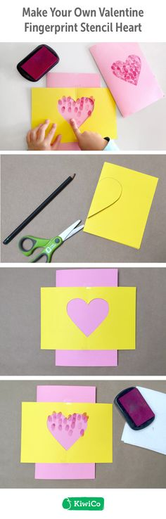 Valentine Fingerprint Stencil Heart DIY. This do-it-yourself paper craft is great for Valentine's Day for all ages. Explore making personalized designs with your children's fingerprints and paint! This art project is great for girls, boys, toddlers, and teens and is a terrific nontraditional Valentine's Day card for classmates. #STEAM