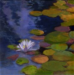 Hope Floats - Original painting on canvas water lily flowers and water reflections Claude Monet Pond 8x8