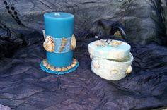 Candela profumata e cofanetto portagioie decorati