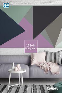 Triángulos asimétricos: una tendencia muy popular para la decoración de interiores. Aplícalos y dale a tus espacios una personalidad dinámica y vibrante.#Inspírate, aplica el color como un experto.
