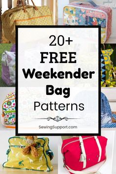 20 Free Weekender Bag patterns tutorials and diy sewing projects. Sew a large overnight travel bag that can also make a great duffle-style tote bag for school gym sports or dance class. Diy Sewing Projects, Sewing Hacks, Sewing Tutorials, Bag Patterns To Sew, Sewing Patterns Free, Duffle Bag Patterns, Crochet Patterns, Bag Sewing, Bag Essentials