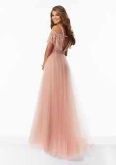 Prom Dresses by Morilee designed by Madeline Gardner. Boho Chic Prom Dress with Off-the-Shoulder Beaded Lace Bodice and Soft Tulle Skirt