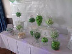 Green and white themed candy buffet