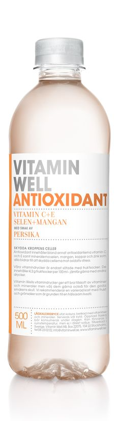 PROTECT YOUR BODY´S CELLS - WITH A TASTE OF PEACH  Vitamin Well Antioxidant contains the antioxidants vitamin C and vitamin E, plus the minerals selenium, manganese, copper and zinc, which all contributes to the protection of cell constituents from oxidativ damage.