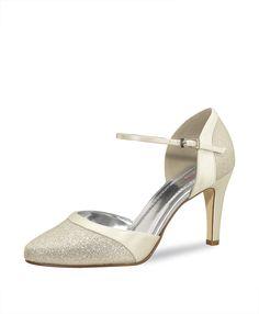 Bruidsschoenen Caroline. Elegante satijnen schoen met fijne glitter. Hakhoogte 7,5 bruidsmode Charina.