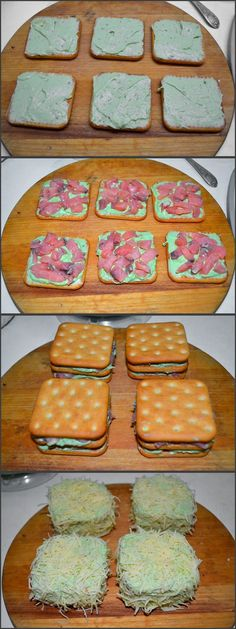 Закусочные пирожные с соленой рыбой: авокадо, творожный сыр, крекеры, соленая рыба, сыр