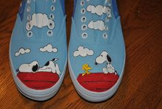 New Fun Design Snoopy and Woodstock size 7 - SOLD  The reason these are more expensive is the amount of time to paint them, and paint needed.