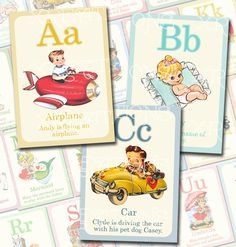 Cute Vintage Style ABC Flashcards in 5x7 inches set of 26 - Print-your-own cards - PDF file. $30.00, via Etsy.