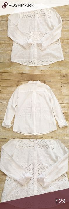 NWT Ann Taylor LOFT white button down top, small p Beautiful white button down top from Ann Taylor LOFT. Size small petite. Very slimming look! Will need a cami underneath, but the floral design really makes the top pop out! There is one small spot on the collar, but it has not been treated. Definitely looks like it will come out. LOFT Tops Button Down Shirts