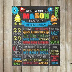 Little Monster Chalkboard Sign, Our Little Monster, First Birthday Sign, Milestone Poster, Printable, Digital File