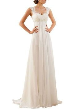 Manfei 2016 Lace Chiffon Beach Wedding Dress Empire Waist with Keyhole Back Ivory Size 16
