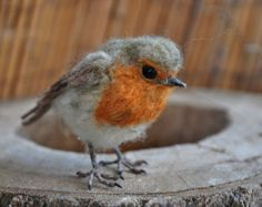 needle felted ROBIN SCULPTURE robin ornament by TheLadyMoth