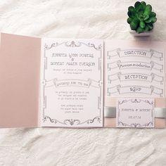 classic blush pink silver ribbon wedding invitation kits EWPI148 ~$2.60