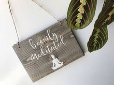 THE SIZE The size is approximately 8x5.5 and comes ready to hang. They look great hanging on a wall, doorknob or off of a vintage chair! SIGN + WOOD DETAILS Each sign is made using a mixture of clear pine, painted in a creamy white paint and sealed with a matte sealant for