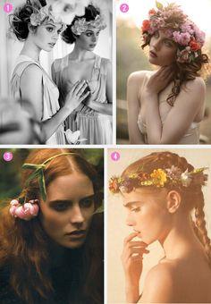 flower wreath, flowers in her hair because nothing makes ladies look better.