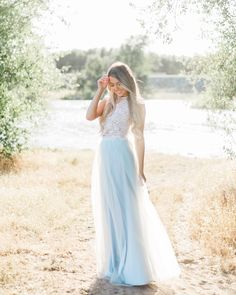 Willow Maxi tulle skirt in Icy Blue and Camilla Lace Sleeveless top by Bliss Tulle // Model: Marina Yushchuk // Photography: Ivory Blush Photography