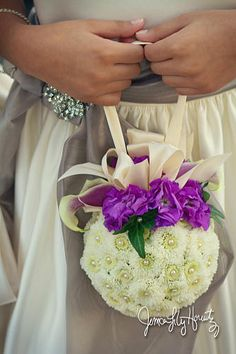 flower girl pomander ball of purple and white photo