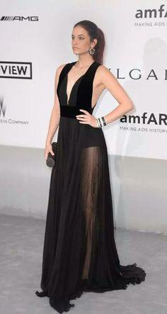 Barbara Palvin in a black flowing gown