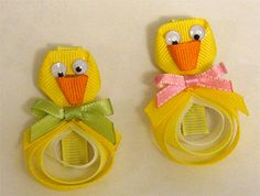 Free Easter Chick Clippie Hair Bow Instructions: hairbow free directions, hair bow business work at home