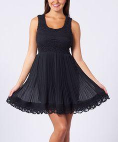 Black Crocheted Empire-Waist Dress by Sand Studio on #zulily