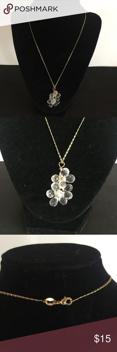 """Crystal Grape Cluster Pendant Necklace Eleven faceted teardrop clear crystal beads cluster like grapes at the end of a delicate gold tone chain! Chain measures 17 3/4"""" long, 2mm wide; """"grapes"""" are wired together and grouped measure 1 1/2"""" long X 1"""" at widest. Comes with gift bag. From a smoke free / pet free home. Jewelry Necklaces"""