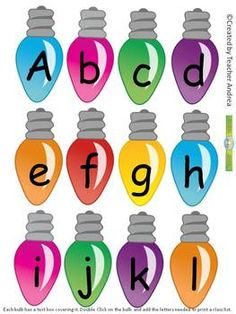 Christmas Bulbs Name/Letter Sort  Punch holes and string words...