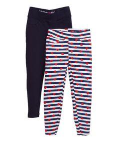 Black & White Hearts & Stripes Leggings Set - Infant Toddler & Girls