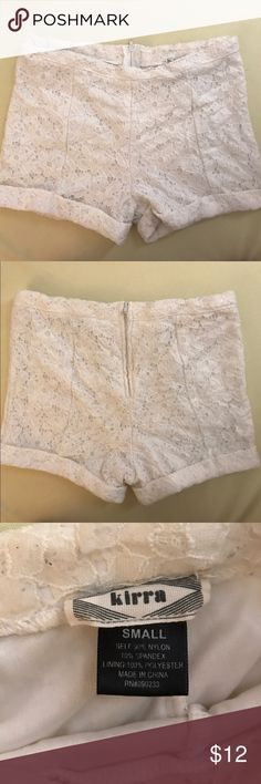High waisted white lace shorts Super cute and airy white lace shorts! Made by Kirra, high waisted, perfect for spring or summer. Slightly see through so you wouldn't want to wear colorful undies underneath lol. Great condition, barely worn. Size small, could work for an XS, but there is some stretch in the fabric. PacSun Shorts
