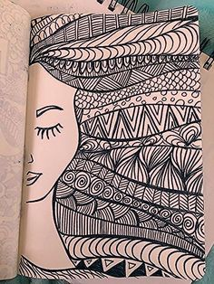Doodle page!Doodle page!Girl hair zentangle drawing with marker - desenho drawing girl Hair marker Girl hair zentangle drawing with marker - desenho drawing girl Hair marker Doodle page! Doodle page! Girl hair zentangle drawing with Doodle Art Drawing, Zentangle Drawings, Cool Art Drawings, Mandala Drawing, Pencil Art Drawings, Art Drawings Sketches, Zentangle Patterns, Easy Drawings, Zentangle Art Ideas