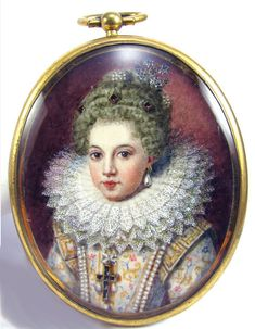 Miniature of Gabrielle D'Estrees (1573-1599), the Duchess of Beaufort and mistress to King Henri IV of France. The miniature is painted in watercolors and gouache c.1820.