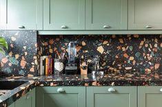 New Kitchen Tile Green Apartment Therapy Ideas Interior Exterior, Kitchen Interior, Kitchen Design, Kitchen Decor, Kitchen Art, Glass Backsplash Kitchen, Kitchen Countertops, Blue Backsplash, Backsplash Ideas
