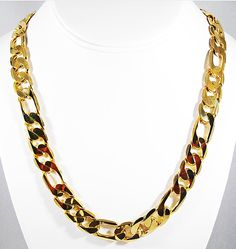 """This Genuine 10K Gold figuro link 11"""" necklace can be worn as dressy or casual and is made of 10k gold. classy enough to wear for a night out this necklace is perfect for men or women. Get this great necklace today.  Measurements:  22"""" long 10K Gold Figuro Link Necklace  MAKE A GREAT CHRISTMA..."""