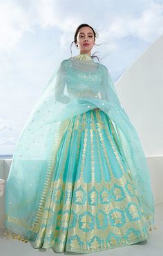 Shop from an exclusive range of luxurious wedding dresses & bridal wear by Anita Dongre. Bring home hand-embroidered wedding wear in colors inspired by nature. Indian Bridal Outfits, Indian Designer Outfits, Designer Dresses, Indian Gowns Dresses, Bridal Dresses, Latest Bridal Lehenga, Pakistani Bridal, Bridal Lehenga Collection, Party Wear Lehenga