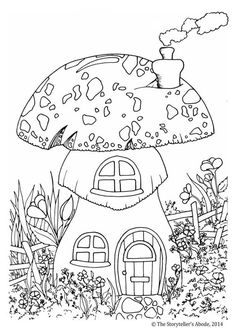 Here Are A Few Colouring Pictures That Ive Drawn The Toadstool House Mother And Child Unicorns Pixie Party Old Wizard Woo